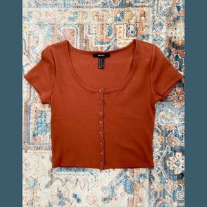 Forever 21 Burnt Orange Ribbed Button Down Crop